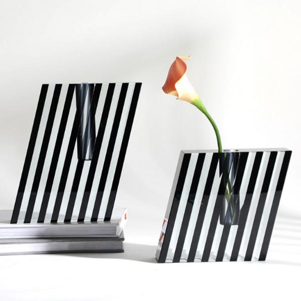 现代欧式创意方形黑色条纹水晶花器 轻奢家居桌面插干花花瓶摆设