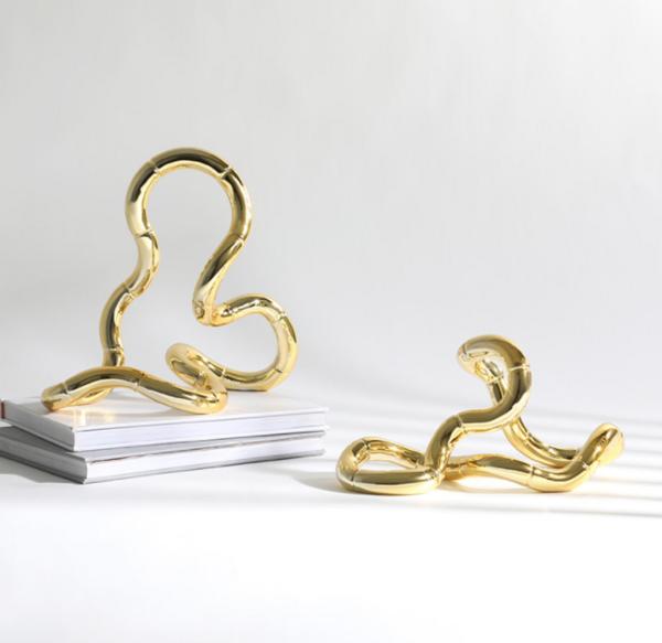 现代轻奢风家居装饰创意钛金色不规则环摆件电视柜桌面装饰摆设