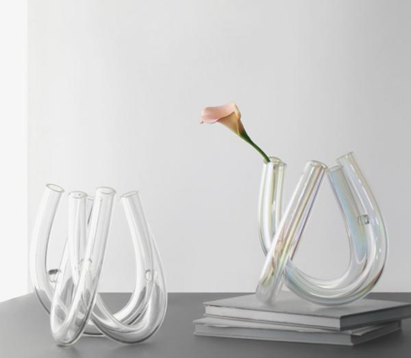 现代家居装饰摆件创意U型花器 样板间装饰插干花透明玻璃花器摆设