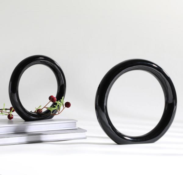现代北欧简约圆圈形镂空玄关装饰摆件样板间电视柜桌面工艺品摆设