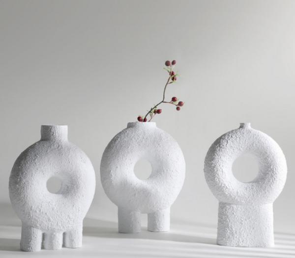 现代创意树脂插干花花瓶桌面摆件 样板房装饰白色花器餐厅摆设