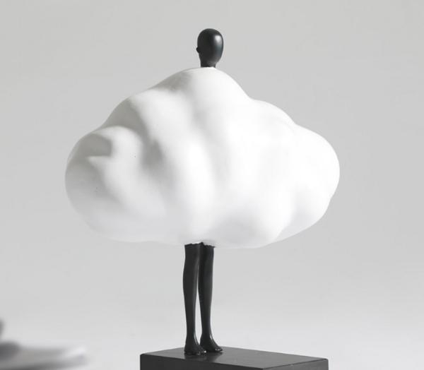 现代简约家居创意树脂云朵人物摆件 软装样板间电视柜极简小摆件