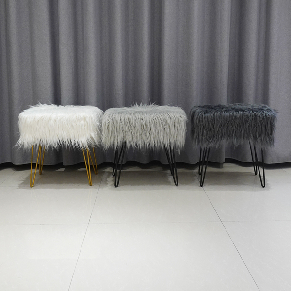 Wholesale Cheap Living Room Bedroom Furniture Nordic Modern White Faux Fur Stool
